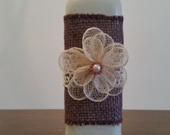 Cottage Chic vase from an upcycled bottle.