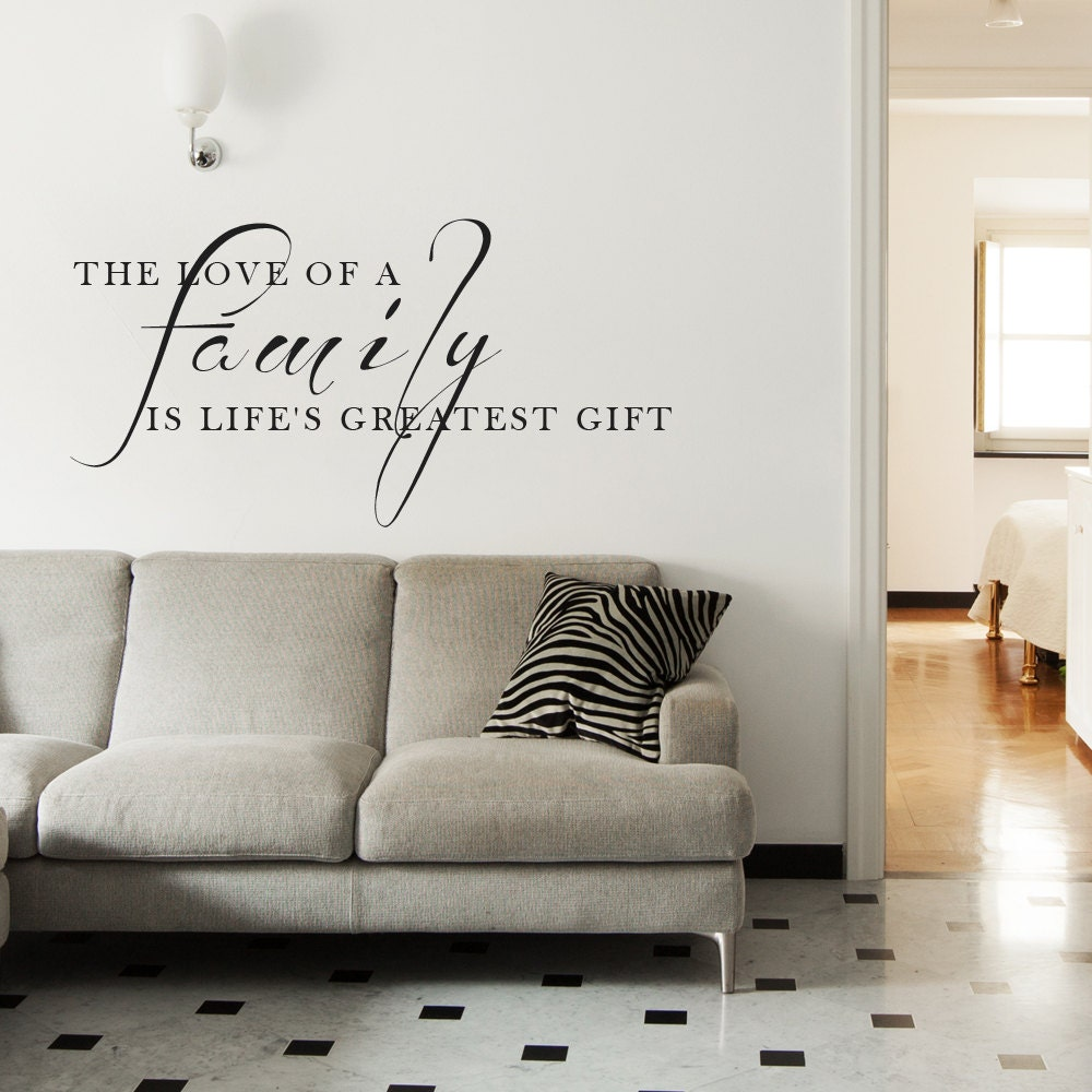10 Living Rooms We Love: Family Vinyl Quotes Living Room Decor Love Wall Words Art