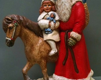 SALE!!!   Santa with Pony -- Heirloom-quality handpainted ceramic Santa -- Christmas mantel decor