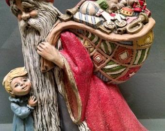 SALE!!!Antique Medieval Santa -- Heirloom-quality handpainted ceramic Santa -- Christmas mantel decor