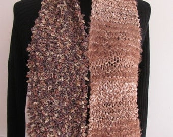 brown and copper hand knit scarf
