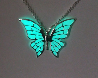 Aqua Butterfly Glowing Necklace, Glowing Jewelry, Glow in the Dark Pendant , Gifts for Her, Valentines, Girlfriend gift, Birthday Gift