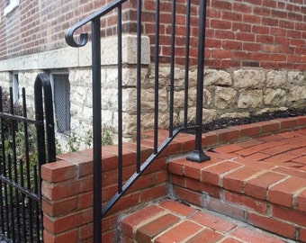 Hand Made Wrought Iron Picket2 Style Handrail for Steps- Easy DIY Installation