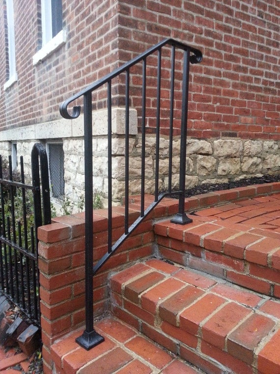Hand Made Wrought Iron Picket2 Style Handrail For Steps Easy