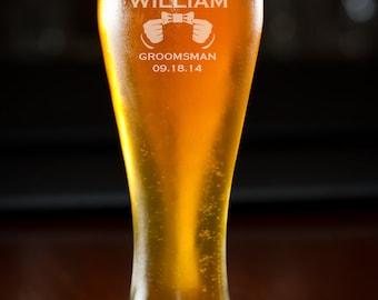Beer Glass, Groomsmen Gift, 6 Custom Beer Glasses, Personalized Beer Glass, Pilsner, Wedding Gift, Birthday Gift, Monogram.