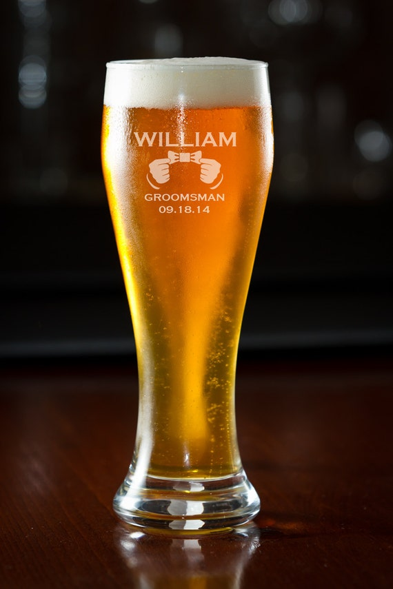 Gift, 4 Custom Beer Glasses, Personalized Beer Glass, Pilsner, Wedding ...