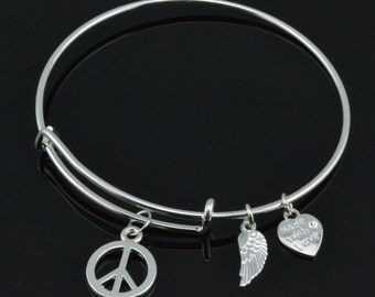 60's Themed Expandable Wire Bangle Charm Bracelet with Peace Sign, Angel Wing, and Heart Charm Silver Finish Adjustable Alex Inspired