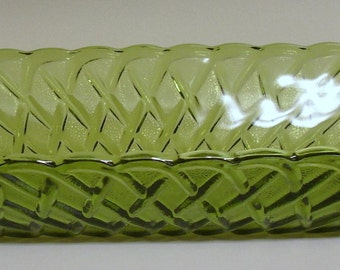 Olive Green Indiana Glass Pretzel Pattern Celery Dish (#1011)