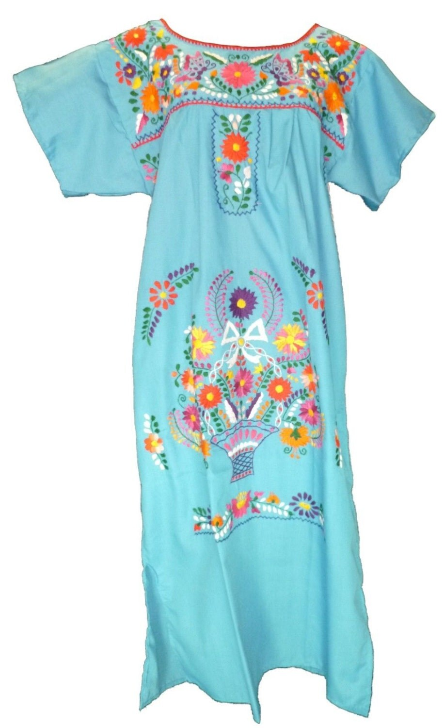 Baby blue embroidered mexican dress vintage by mexicanpopstore