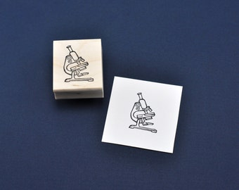 Microscope Rubber Stamp, Hand carved Science Nerd Stamp