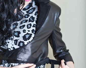 Leather Ballet Wrap Jacket -A beautiful cropped leather jacket with three quarter sleeves. Made to order only