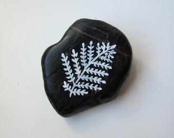 Fern Zen Stone Desktop Accessories Nature Decor - Paper Weight Relaxing Office Accessories - Handpainted Stones Mini Garden Accessories