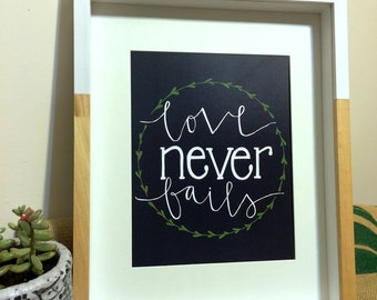 """Hand Lettered Calligraphy Color Print: """"Love Never Fails"""""""