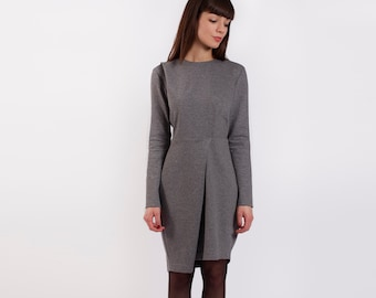 Minimalist Dress, Business Dress, Asymmetric Dress, Gray Dress, Elegant Midi Dress, Long Jersey Dress, Suit Dress, Office Dress