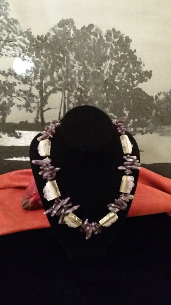 Amazing Natural Cut and Teardrop Cluster Purple Amethyst Stone Necklace