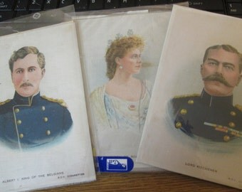 Three silk woven portraits