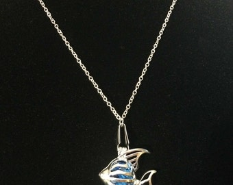 Tropical Fish Pendant Necklace Silver Plated