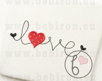 Simple Handwritten LOVE with a Heart - Valentine Applique Design Machine Embroidery Pattern Instant Download