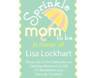 Personalized Printed Baby Sprinkle Invitations. Sprinkle. Invitations.  Umbrella Invitation. 2nd Baby Shower