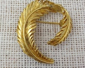 Gold Feather Brooch Pin by Allison Reed