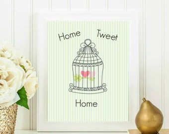 Arts & Collectibles, Home Sweet Home, Bird Cage Poster, Home Tweet Home Print, Home Decor 8x10 INSTANT DOWNLOAD