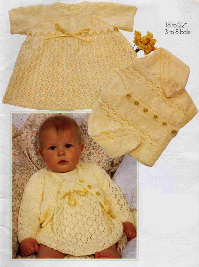 Vintage Knitting Pattern Baby Dress and Cardigan Sweater