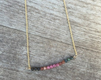 Tourmaline Necklace - Tourmaline Beaded Necklace - Minimalist Necklace - Petite Necklace - Bridesmaid Necklace