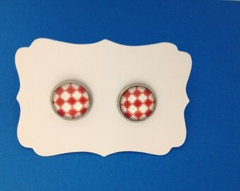 Red Checkerboard Studs in a Titanium-Silver Setting FREE SHIPPING
