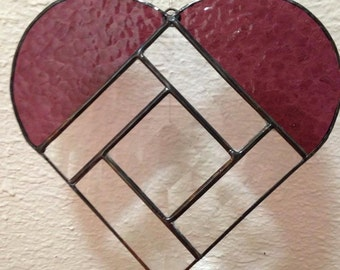 Beveled Heart stained glass suncatcher