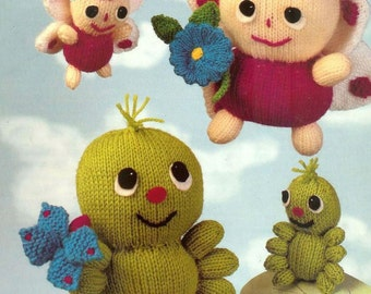 butterfly and caterpillar toy dk knitting pattern 99p