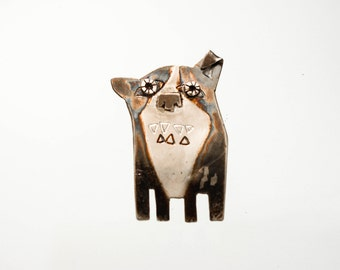 Handmade Sterling Silver Dog Brooch Pin, ALEX THE DOG, Patinated, Hand Engraved, Contemporary Jewelry, Wearable Art, Silver Dog