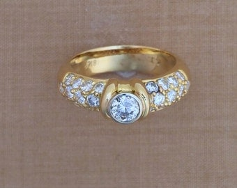 0.30 ct. Round Center Diamond & 0.94 ct. Accent Diamonds - 18K Yellow Gold - Engagement or Wedding Ring - Woman's Ring - April Birthstone