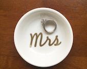 Mrs Ring Dish | Custom Engagement Ring Holder | Personalized Jewelry Dish | Cute Wedding Engaged Gift
