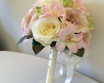 Pink and cream roses silk bridal bouquet