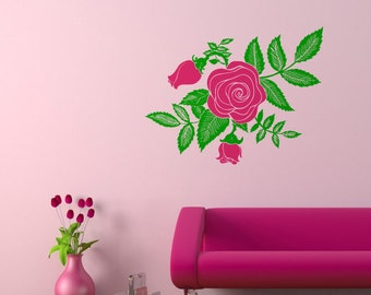 Wall decal Rose, Flower wall sticker, Floral wall sticker, Vinyl wall sticker, Wall stencil, Wall decoration