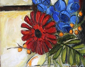 Red Gerber Daisy and Delphinium Flower Arrangment in a Glass Vase- Reproduction Print on Archival Paper