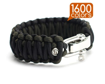Custom paracord bracelet - Custom paracord survival bracelet «King Cobra» with real stainless steel buckle. 1600 colors!