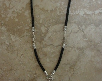 """21"""" Leather and Pewter Necklace"""