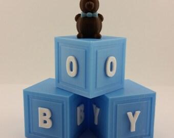 Boy blocks baby shower cake topper and keepsake