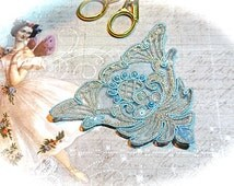 Applique Embroidered Baby Blue & Silver Beaded Victorian Trims AP-114