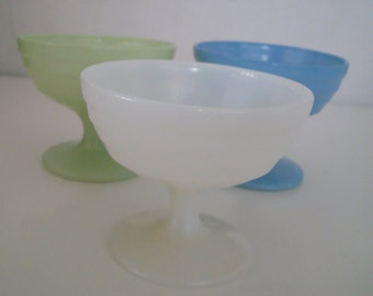 VIntage Sorbet Bowls/Cups -  Hazel Atlas - Blue, Green, & White Moderntone - Set of 3