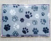 Pads mat feeding dog food placemat cat drink mat feeding grey curly felt and fabric handmade gift