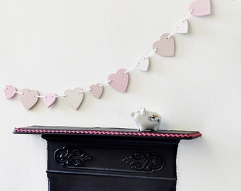 Pink Wooden Heart Bunting
