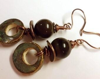 Earthy Brown Earrings - Bohemian Earrings - Ceramics Jasper Copper Wire Wrapped Earrings - Earthy Artisan Earrings - Handmade - Salakaappi