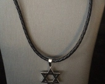 Star of David stainless steel charm with black leather rope necklace