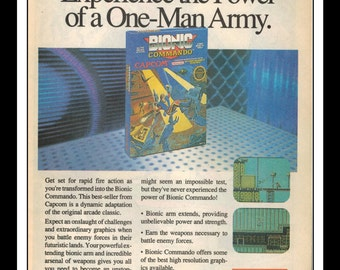 "Vintage Print Ad 1990's : Nintendo NES - Bionic Commando Art Decor 6.5"" x 10"""