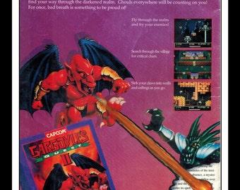 "Vintage Print Ad 1990's : Nintendo NES - Gargoyle's Quest II Wall Art Decor 6.5"" x 10"" Advertisement"
