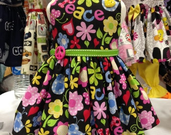 Flower Power & Peace dress fits all 18 inch dolls including American Girl Doll
