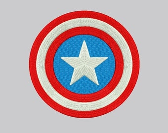 Captain America Embroidery Design - 3 sizes Instant Download