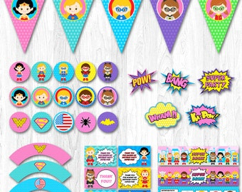 Superhero Girl Party Package, Superhero Girl Party Pack,DC superhero girl party, Superhero Girl Party Set, Superhero Girl Party Supplies